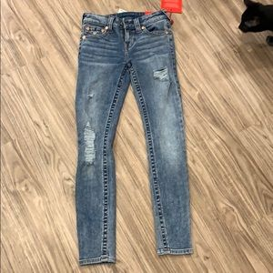 NWT True Religion Mid Rise Distressed Skinny Jeans